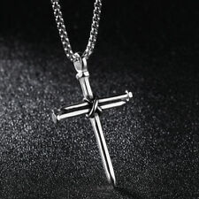 Mens Silver Stainless Steel Jesus Christ Nail Cross Pendant Necklace Chain 24""