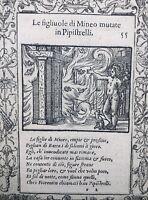 Rare Gravure 1559 Hydre Chauve-Souris Herpétologie Junon Metamorfoseo Ovide