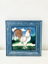 "Tile Art Rooster Signed Wall Decor Blue Wooden Frame 8-1/2"" x 8-1/2"" Vintage"