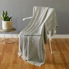 100% algodón marrón natural tejido espiga Sillón Cama Manta lanza con flecos