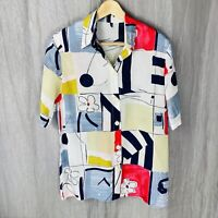 *VINTAGE* Multi Retro Abstract Flowers SIZE 10 UK Short Sleeve Blouse V1
