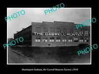 OLD LARGE HISTORIC PHOTO OF HUNTINGTON INDIANA THE CASWELL RUNYON FACTORY c1910