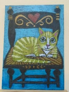 ACEO Ollietuxedo Original Handmade Art Cards Tabby Cat with Flowers on the Lawn