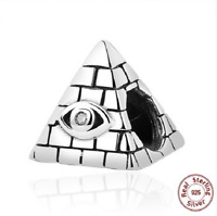 100% 925 Sterling Silver Egyptian Pyramid Beads Charm pandora