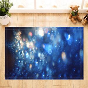 Blue Spot Illusion Bath Mat Flannel Rug Anti-slip Floor Mat Door Mat