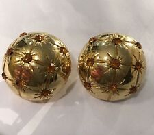Vogue Bijoux Gold Tone Amber Colored Stones Round Clip On Earrings