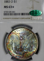 1883-O MS63 STAR CAC Morgan Silver Dollar $1, NGC Graded, Rainbow Toned
