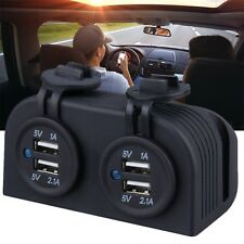 New Dual Car Cigarette Lighter Power Plug Socket Charger Adapter With 4 USB H0