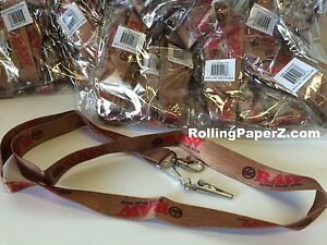 """LOT of 3 - THREE RAW Natural Rolling papers brand LANYARD KEYCHAINS - 20"""" Length"""