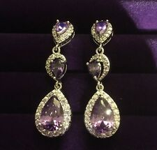 A White Gold GF Amethyst +Sim Diamond Swarovski Elements Stud + Drop Plum UK BOX