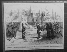 PIERRE LAROUSSE INAUGURATION TOMBEAU MONTPARNASSE gravure 1875 antique print
