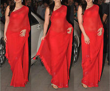 Bollywood Designer Party Wear Red color Georgette Fabric Sequence Border Saree