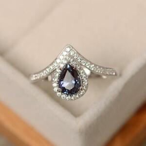 7x5 mm Pear Shape Alexandrite Wishbone Engagement Ring 18K White Gold Finish