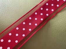 1.5 Metres red White Dot Minnie Mouse Theme Ribbon Satin & Mesh 1.5 In Wide