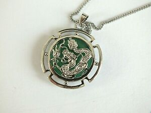 CHINESE GREEN JADE DRAGON AMULET PENDANT NECKLACE COIN ZODIAC ANIMAL BIRTHDAY