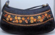 ESCADA Vintage Purse Handbag Baguette Blue Jeans Denim Embroidered Flower Orange