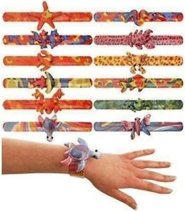 12 x New Children Animal Snap Bracelet Kids Loot Party Goody Bags Fillers Toy UK