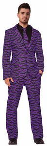 Bat Suit And Tie Adult Mens Halloween Costume md-xl Black Purple Cool Vampire
