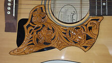 Leather pick guard Acoustic Guitar Custom Hand Tooled Leather  floral brown blac