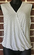 WITCHERY Striped Crossover Wrap V-Neck Casual Top Women's Size XS