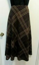 Sz 16 East 5th (Penney) Brown Plaid A-line Lined Skirt #174