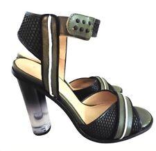 L.A.M.B. Sandals Carter Black and Green Translucent Heel 8.5 M