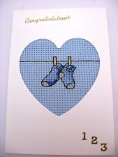 New Baby Boy Completed Cross Stitch Card Socks on a Washing Line 6x4""
