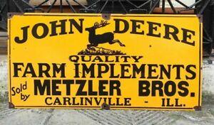 """Vintage John Deere Farm Implements Porcelain Enamel Sign 24""""x12"""""""