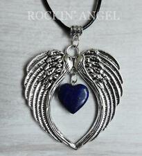 Large Antique Silver Pl Angel Wing Pendant & Lapis Lazuli Heart Necklace Ladies