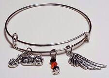 Harley Davidson Inspired Motorcycle & Wing Charm w/ Swarovski Elements Bracelet