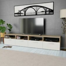 vidaXL 2x TV Cabinets Chipboard 95x35x36cm Oak and White Home Storage Stand
