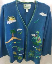 THE QUACKER FACTORY CARDIGAN SWEATER FISH SAILBOAT PALM TREE BLUE SIZE 2X