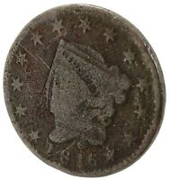 1816 CORONET HEAD LARGE CENT- WELL CIRCULATED CUPPER COIN.
