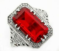 10CT Ruby 925 Solid Sterling Silver Victorian Style Ring Jewelry Sz 6, PR39