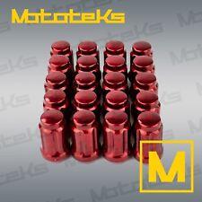 20 Pc Red Acorn Lug Nuts Tuner Spline Tapered Seat M14x1.5 Thread Set + Socket