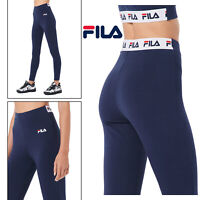 FILA Rathi Womens Navy High Rise Logo Waistband Gym Sport Retro Lounge Leggings