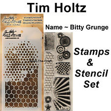 Tim Holtz ~ Bitty Grunge ~ Stamps & Stencil Set ~ Circles, Honeycomb, Rays Stars