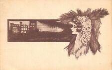 Cobb Shinn~Flapper Profile~Woman Observes City Skyline~Night Life~Feathers~Sepia
