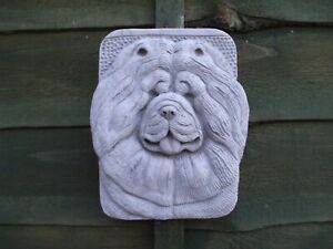 STONE CHOW CHOW  DOG DOGS  HANGING WALL PLAQUE