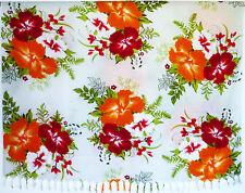 Sarong . Pareo . Wickeltuch Tuch Strandkleid . Blumen . rot orange . NEU