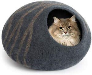 Meowfia 100% Merino Wool Cat Cave Bed Handmade NEW