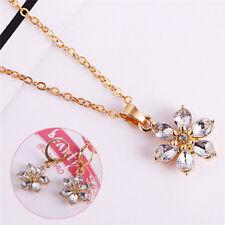 Joyas de oro plateado conjunto rhinestone collar de flores pendientesSE