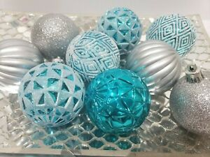 Christmas Coastal Ornaments Teal Turquoise Silver Peacock Home Decor Tree NEW