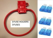 (3) 14 GAUGE ATC FUSE HOLDER With COVER + (3) 15 AMP FUSES IN-LINE 14 GA. USA
