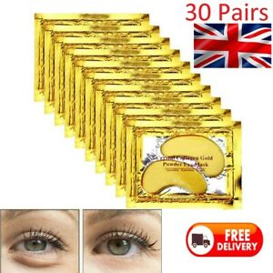 Under Eye Patches - 30 Pairs 24K Gold Eye Mask Power Crystal Gel Collagen Masks
