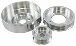 Polished Aluminum Serpentine Pulley Set, Fits Ford 1994-1995 Mustang 5.0L GT LX