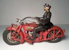 "VINTAGE HUBLEY CAST IRON INDIAN MOTORCYCLE & SIDECAR 9"" L"