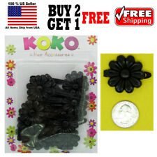 Girls Kids Black Daisy Flower Hair Barrette Snap Clips Holder Accessories