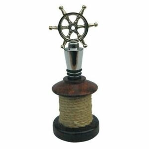Bottle Stopper Steering Wheel With Wooden Base as a Taurole, Silver Plated Brass