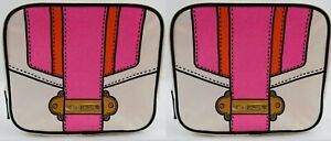 Estee Lauder White Pink Orange Gold Cosmetic Bag pouch case Makeup New set x 2